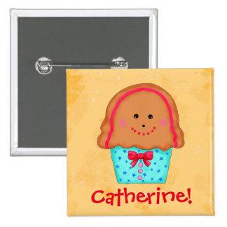 Christmas Gingerbread Cupcake Holiday Name Badge Pins