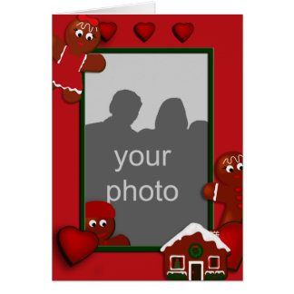 Christmas Gingerbread Frame Family of 3 Card