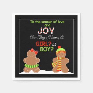 Christmas Gingerbread Gender Reveal Napkins Paper Napkins