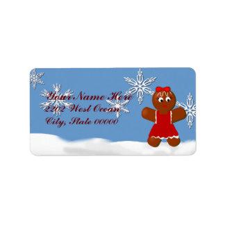 Christmas Gingerbread Girl Address Label