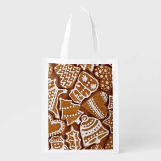 Christmas Gingerbread Holiday Cookies Reusable Grocery Bags