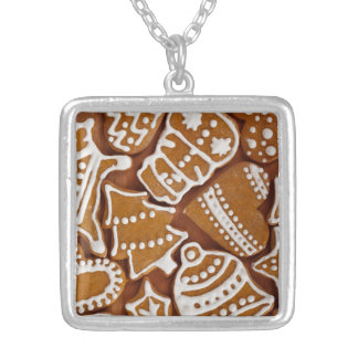 Christmas Gingerbread Holiday Cookies Silver Plated Necklace