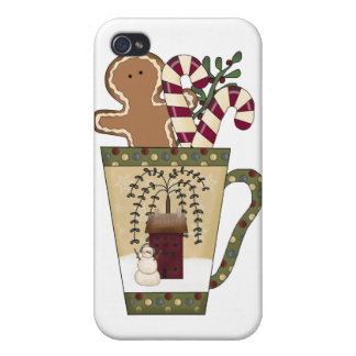 Christmas Gingerbread Holiday Greetings iPhone 4/4S Cases