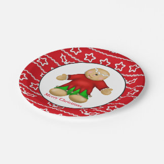 Christmas gingerbread Holiday party paper plate 7 Inch Paper Plate