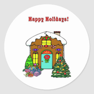 Christmas Gingerbread House and Happy Holidays Classic Round Sticker
