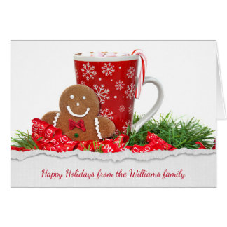 Christmas gingerbread man and hot chocolate card