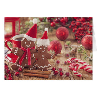 Christmas Gingerbread Man And Hot Drink Card