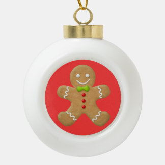 Christmas Gingerbread Man Cookie Red Green Ceramic Ball Ornament