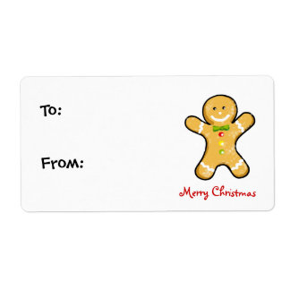 Christmas gingerbread man cookie shipping label