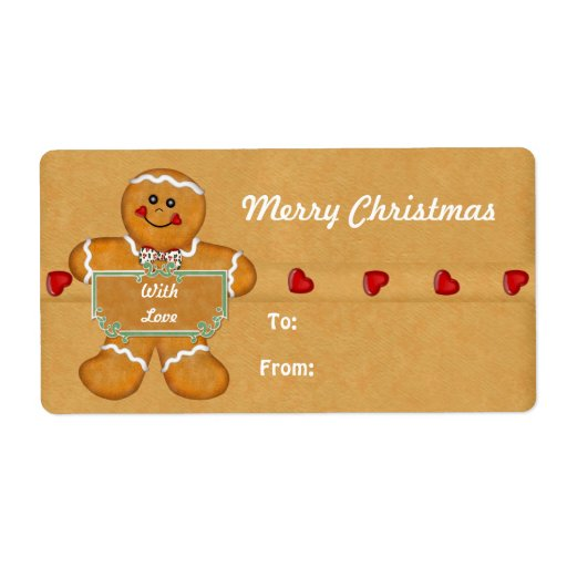Christmas Gingerbread Man Gift Tags Shipping Label