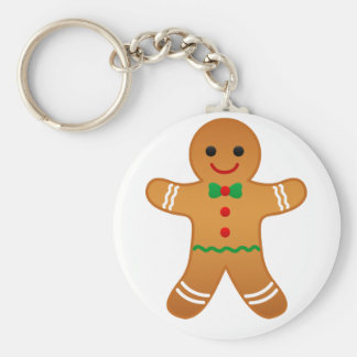 Christmas Gingerbread Man Gifts Basic Round Button Keychain