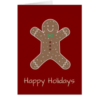 Christmas Gingerbread Man On Red Happy Holidays Card