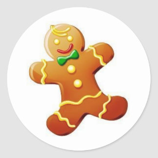 Christmas Gingerbread Man Round Sticker