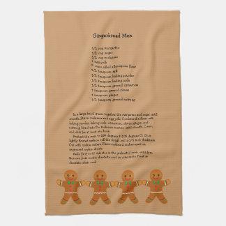 Christmas Gingerbread Men Recipe Kitchen Towel