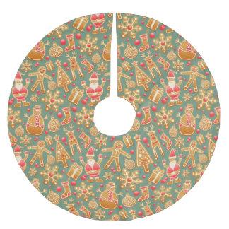 christmas gingerbread santa xmas tree skirt brushed polyester tree skirt