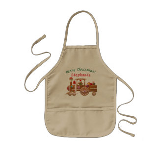 Christmas Gingerbread Steam Locomotive Kids Apron