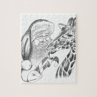christmas giraffe and Santa Jigsaw Puzzle
