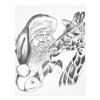 christmas giraffe and Santa Letterhead
