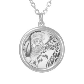 christmas giraffe and Santa Silver Plated Necklace