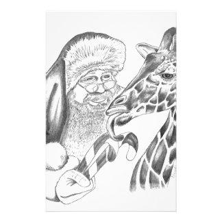 christmas giraffe and Santa Stationery