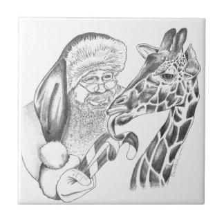 christmas giraffe and Santa Tile