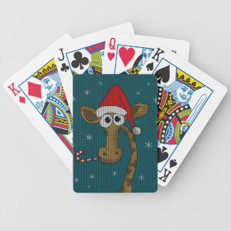 Christmas Giraffe Bicycle Playing Cards