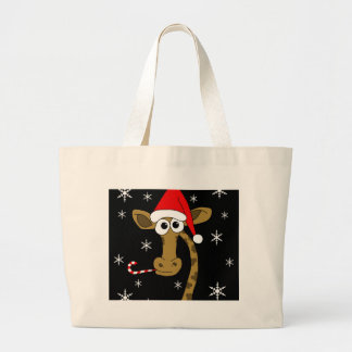 Christmas giraffe large tote bag