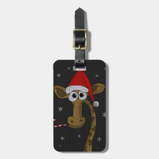 Christmas Giraffe Luggage Tag