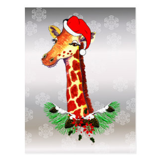 Christmas Giraffe Postcard