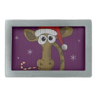 Christmas Giraffe Rectangular Belt Buckles