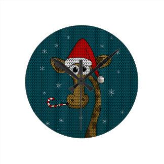 Christmas Giraffe Round Clock