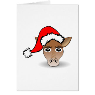 Christmas Giraffe Wearing Santa Hat Card