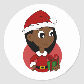 Christmas girl cartoon classic round sticker