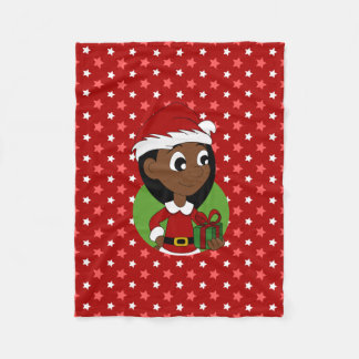 Christmas girl cartoon fleece blanket