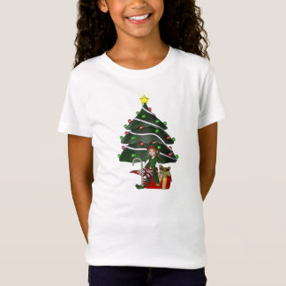 Christmas Girl Elf Tree Present Kids Cute T-Shirt