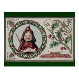 Christmas Girl in Red Hood Postcard