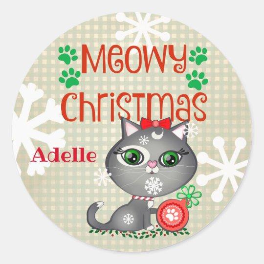 Christmas Girl Kitty Cat Custom Stickers