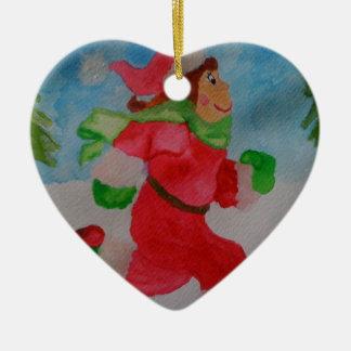 CHRISTMAS GIRL RUNNER HEART ORNAMENT