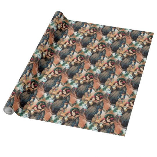 """Christmas Girls Linen Wrapping Paper, 30"""" x 30'"""