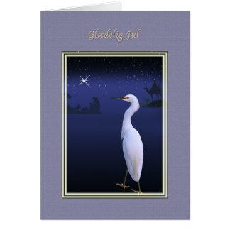 Christmas, Glædelig Jul, Danish, Egret, Nativity Card