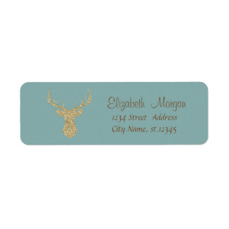 Christmas,Glittery Reindeer Return Address Label