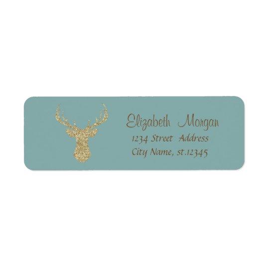 Christmas,Glittery Reindeer Return Address Label