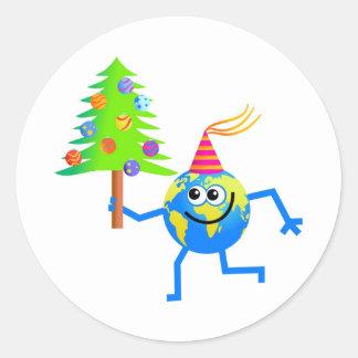 Christmas Globe Classic Round Sticker