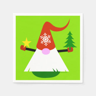 Christmas Gnome Paper Holiday Party Napkins Disposable Napkins