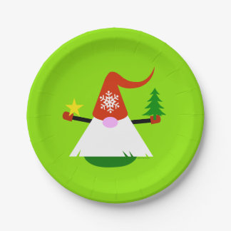 Christmas Gnome Paper Holiday Party Plates