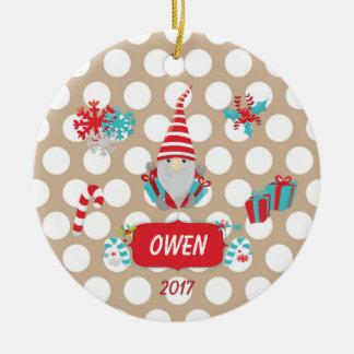 Christmas Gnomes White Polka Dots Ornament