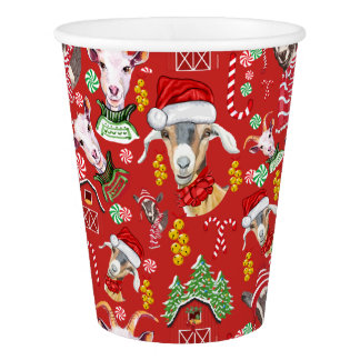 Christmas GOATS Candy and Jingle Bells GetYerGoat™ Paper Cup
