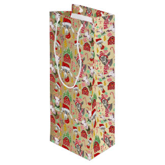 Christmas GOATS Candy and Jingle Bells GetYerGoat™ Wine Gift Bag