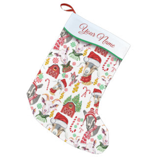 Christmas GOATS Candy and Jingle Bells Small Christmas Stocking