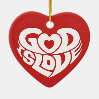 Christmas God Is Love Christian Bible Verse Ceramic Ornament